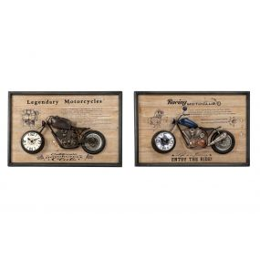 WALL CLOCK IRON MDF 60X10X40 MOTORCYCLE 2 MOD.