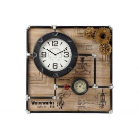 WALL CLOCK IRON MDF 80X13X80 PIPELINES BLACK