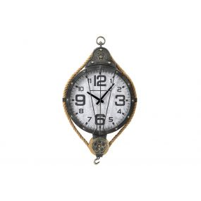 WALL CLOCK IRON GLASS 45X8X76 PULLEY BLACK