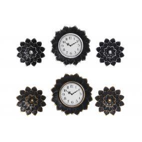 WALL CLOCK SET 3 PP GLASS 35X5X35 25CM 2 MOD.