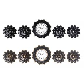 WALL CLOCK SET 5 PP GLASS 35X5X35 25 2 MOD.