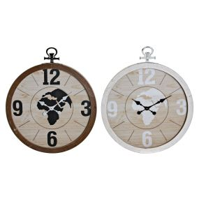 WALL CLOCK MDF IRON 60X6,5X70,5 MAP 2 MOD.