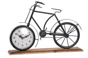 TABLE CLOCK IRON MDF 34X8X23,5 BICYCLE BLACK