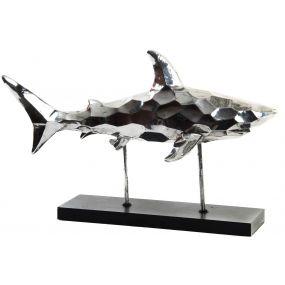 FIGURE RESIN WOOD 54X20X35 SHARK CHROMED SILVER