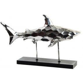 FIGURE RESIN WOOD 54X20X35 SHARK CHROMED SILVER