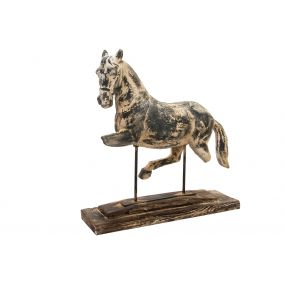 FIGURE RESIN MDF 75X24X77 HORSE AGED GREY