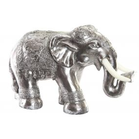 FIGURE RESIN 66X30X44 ELEPHANT AGED METALLIC