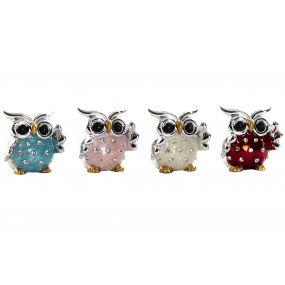 FIGURE RESIN ACRYLIC 4,5X4X4,5 OWL SPARKLY 4 MOD.
