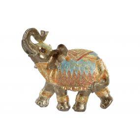 FIGURE RESIN 20X9,5X18,2 ELEPHANT DECAPE GOLDEN