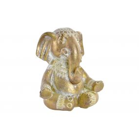 FIGURE RESIN 12,5X9,5X13,5 ELEPHANT DECAPE GOLDEN