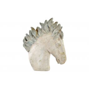 FIGURE RESIN 55X20X50 HORSE AGED WHITE