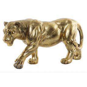 FIGURE RESIN 39,5X11,5X19 FEMALE LION AGED GOLDEN