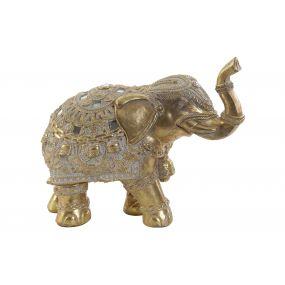 FIGURE RESIN MIRROR 20,5X9,5X16 ELEPHANT GOLDEN
