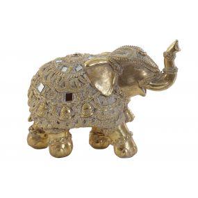 FIGURE RESIN MIRROR 15,5X7X11 ELEPHANT GOLDEN