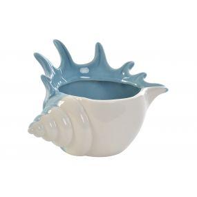 CANDLE HOLDER PORCELAIN 15X11X9 CONCH BLUE
