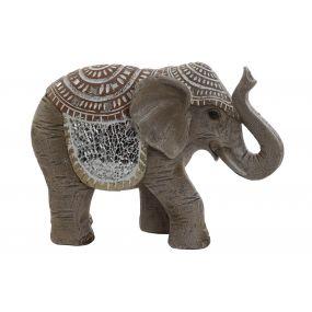 FIGURE RESIN GLASS 23,5X8,5X16,5 ELEPHANT BEIGE