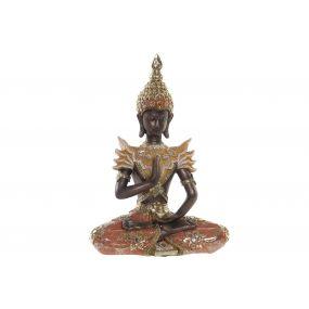 FIGURE RESIN MIRROR 21,5X11X29,5 BUDDHA CORAL