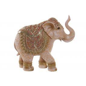 FIGURE RESIN MIRROR 23,5X7,5X21 ELEPHANT CORAL