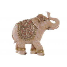 FIGURE RESIN MIRROR 28,5X9X25,5 ELEPHANT CORAL