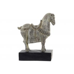 FIGURE RESIN 27X9X32 HORSE AGED BROWN