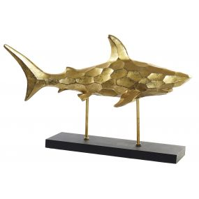 FIGURE RESIN METAL 50X12X37 SHARK GOLDEN