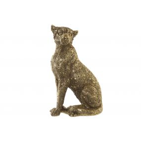 FIGURE RESIN 14X11X26 LEOPARD AGED GOLDEN