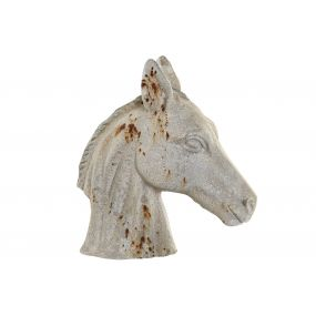 FIGURE RESIN 14X30X31,5 HORSE AGED WHITE