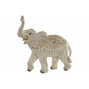 FIGURE RESIN 33,5X17X35 ELEPHANT DECAPE BEIGE