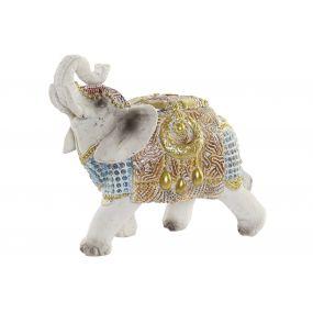 FIGURE RESIN 11X6X10 ELEPHANT DECAPE BLUE