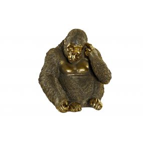 FIGURE RESIN 39X30X41,5 GORILLA GOLDEN