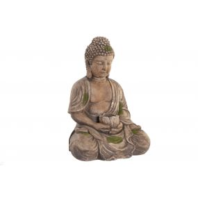 FIGURE GLASS FIBER 36,5X29,5X50 BUDDHA AGED BROWN