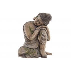 FIGURE GLASS FIBER 37X30,5X43 BUDDHA AGED BROWN