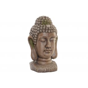 FIGURE GLASS FIBER 28X26,5X48 BUDDHA AGED BROWN