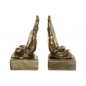 BOOKEND SET 2 RESIN 23X10X22 HANDS GOLDEN