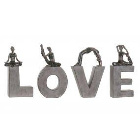 FIGURE SET 4 RESIN 40X4X22 LOVE GREY