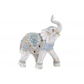 FIGURE RESIN 14X7X17 ELEPHANT WHITE
