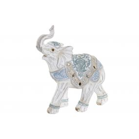 FIGURE RESIN 19X8X21 ELEPHANT WHITE
