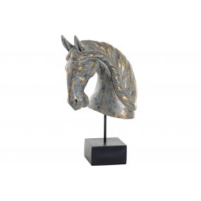 FIGURE RESIN 31X19X52 HORSE AGED GREY