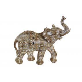 FIGURE RESIN 23X10X22 ELEPHANT WHITE