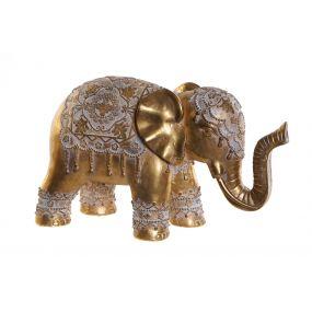 FIGURE RESIN 39X16X23 ELEPHANT AGED GOLDEN