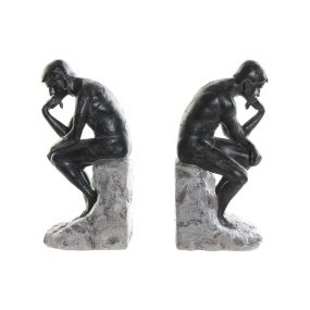 BOOKEND SET 2 RESIN 13X12X28 THINKER GREY