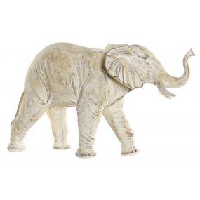 FIGURE RESIN 34X12X23 ELEPHANT DECAPE WHITE