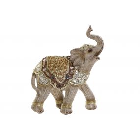 FIGURE RESIN MIRROR 14X7X17 ELEPHANT GOLDEN