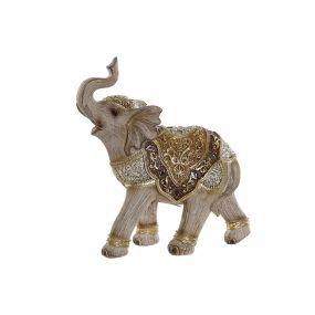 FIGURE RESIN MIRROR 19X8X21 ELEPHANT GOLDEN