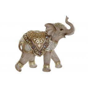 FIGURE RESIN MIRROR 24X9X22 ELEPHANT GOLDEN