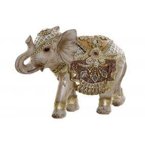 FIGURE RESIN 17X7X13 ELEPHANT GOLDEN