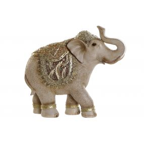 FIGURE RESIN MIRROR 28,5X9X25,5 ELEPHANT GOLDEN