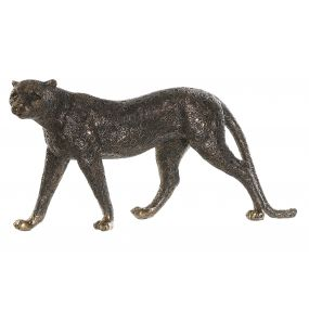 FIGURE RESIN 40X9X20 LEOPARD AGED COPPER-COLORED