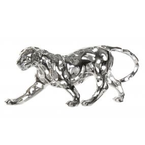 FIGURE RESIN 60X17X26 LEOPARD SPARKLY SILVER