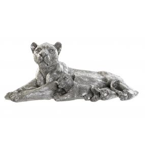 FIGURE RESIN 50X25X21 LIONS SILVER